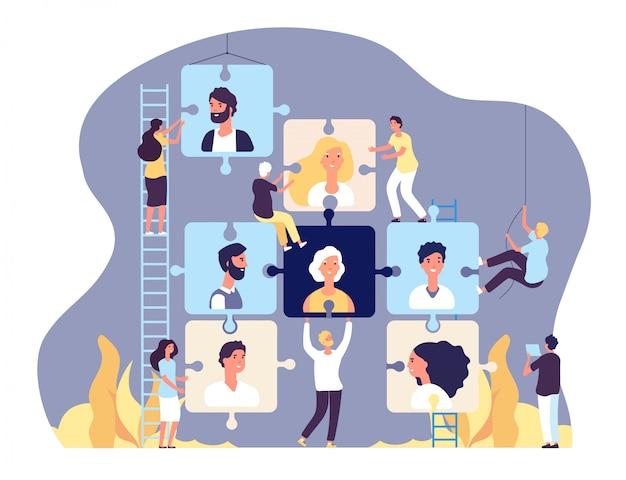 Концепция агентства занятости. онлайн-набор и поиск работы, человеческие ресурсы и подбор персонала, векторный фон рекламы вакансий
