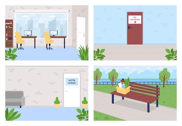 고용 및 실업 플랫 세트. 공석 표시가없는 문. 직책에 대한 채용. 사무실 방 컬렉션 회사 2d 만화 인테리어