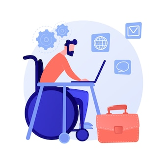 Employment of people with disabilities. job interview with disabled person on wheelchair. human resources, vacancy, career. equal opportunities. vector isolated concept metaphor illustration