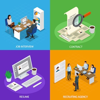 Employment recruitment isometric composition set