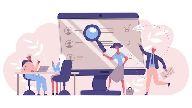 Концепция службы занятости. менеджеры по подбору персонала, подбор персонала, векторная иллюстрация службы хедхантинга. концепция найма людей