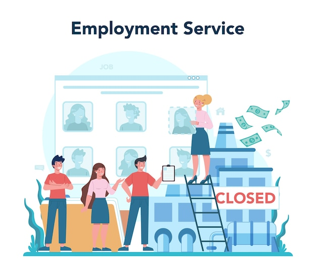 Employment service concept. searching for work or job. idea of employment.