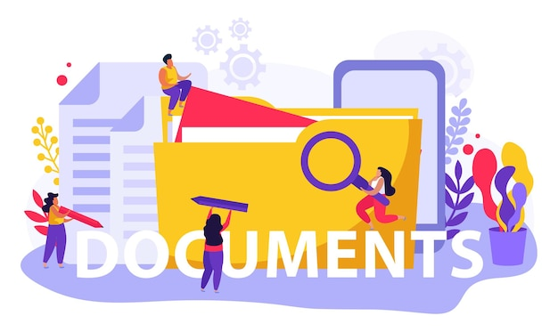 Employment service and employment documents flat composition of text and doodle people with files and folders