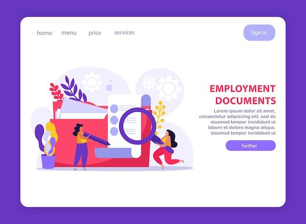 Servizio di collocamento e documenti di lavoro sito web piatto