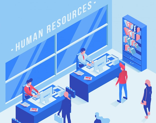 Employment service office isometric illustration
