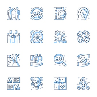 Employment service, team building linear vector icons set.