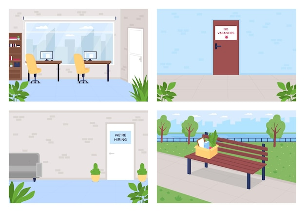 Employment and unemployment flat  set. door with no vacancy sign. hiring for job position. company 2d cartoon interior with office room  collection