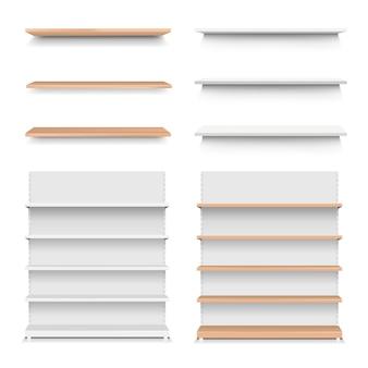 Emply wooden shelf set isolated white background