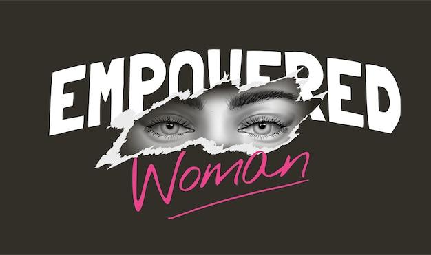 イラストをはぎ取った黒と白の女の子の目を持つ女性のスローガン
