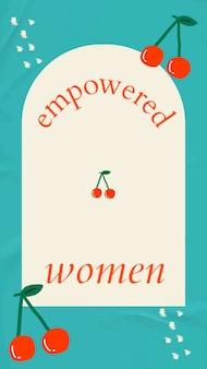 フレームと桜のベクトルで権限を与えられた女性のソーシャルメディアストーリーテンプレート