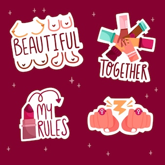 Empowering feminist stickers collection