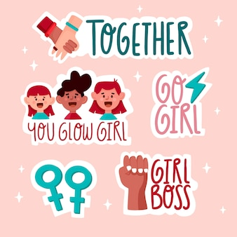 Empowering feminist stickers pack