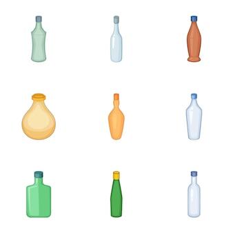 Emprty bottle of alcohol set, cartoon style