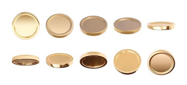 Empty 3d gold coins set isolated on white background in different positions.  illustration
