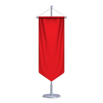 Empty 3d long pennant flag. illustration