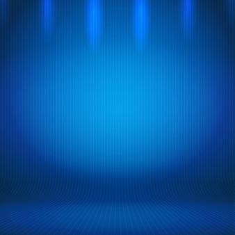 空の抽象的な青いグラデーションの背景照明付きの部屋のスタジオ
