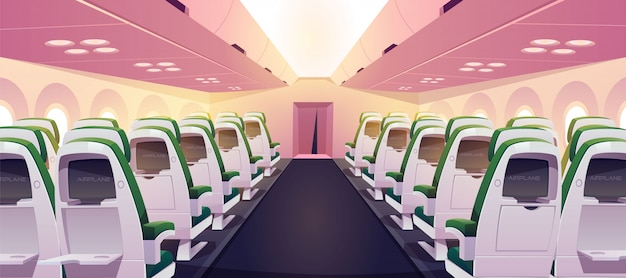 Empty airplane cabin with chairs, digital screens
