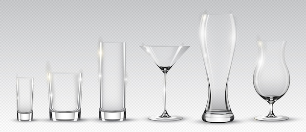 Коллекция пустых алкогольных стаканов для разных напитков и коктейлей