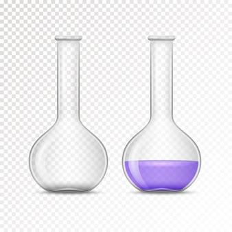 化学実験室のための空で満たされたフラスコ