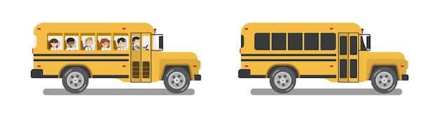 Пустой и полный школьный автобус учеников. плоский дизайн. отдельные векторные иллюстрации