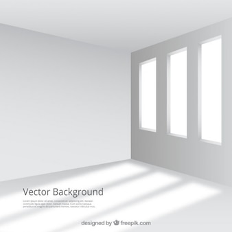 Empty and white room with windows