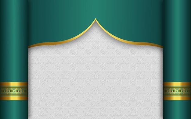 エレガントな金の装飾が施された空のアラビア語イスラムバナーの背景