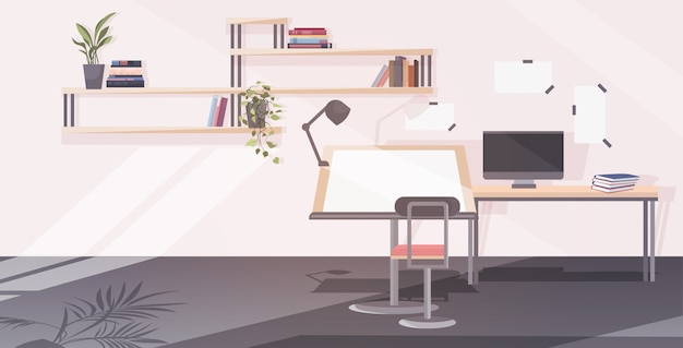 Пустой офис архитектора с регулируемым стулом стола чертежа и комнатой инженера компьютерной мастерской