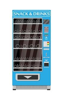 Пустой автомат по продаже еды и напитков. бутылки и банки с напитками, чипсами, шоколадом и другими закусками. векторная иллюстрация в плоском стиле