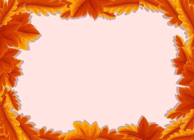 Пустой фон с шаблоном рамки осенних листьев