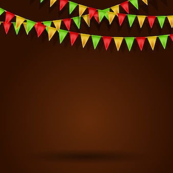 Empty background with carnival flags.  illustration