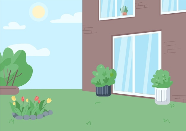 Empty backyard flat color illustration. residential building yard with no people 2d cartoon landscape with sunny sky on background. countryside real estate, suburban lifestyle
