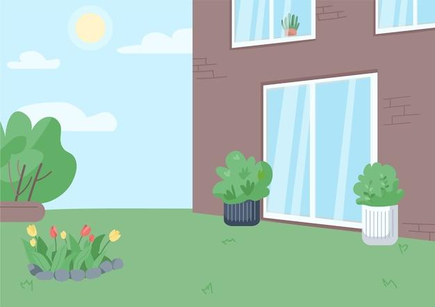 Пустой задний двор плоские цветные рисунки. двор жилого дома без людей 2d мультяшный пейзаж с солнечным небом на фоне. загородная недвижимость, загородный образ жизни