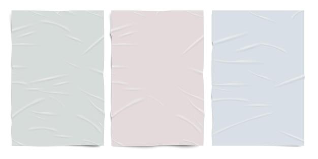 심하게 접착된 빈 종이 질감, 파스텔 색상, 젖은 주름진 효과 용지, 벡터 실제 세트.