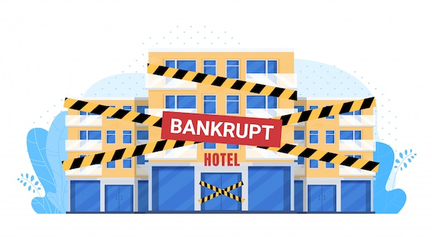 Empty bankrupted hotel illustration, cartoon flat hotel building facade with bankrupt closing tape bankrupting in financial crisis