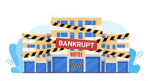 Пустая обанкротившаяся иллюстрация отеля, мультяшный плоский фасад здания гостиницы с обанкротившейся закрывающей лентой, разорившейся в условиях финансового кризиса