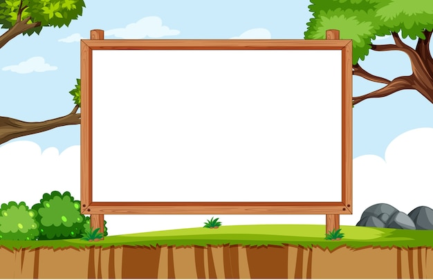 Empty banner board in nature park scenery