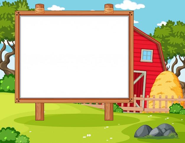 Empty banner board in nuture farm scenery