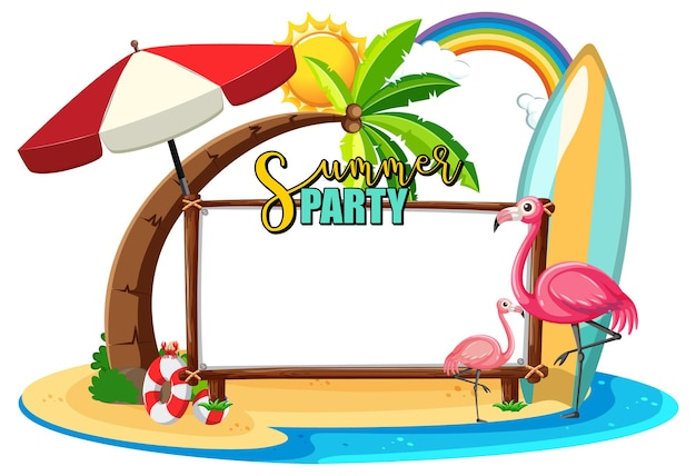 Empty banner board with flamingo on the beach isolated
