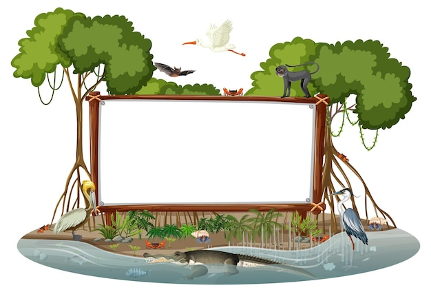 Empty banner in mangrove forest scene with wild animals isolated