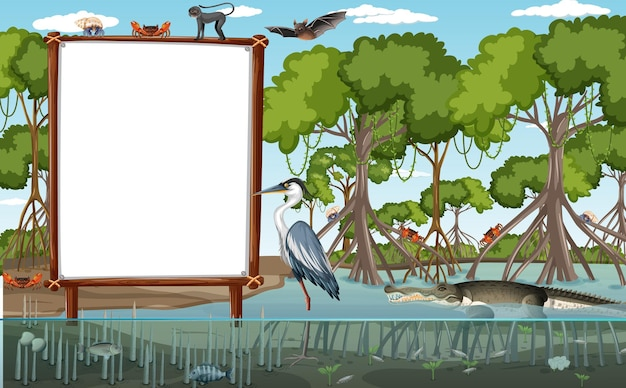 Empty banner in mangrove forest scene with wild animals
