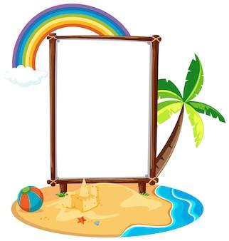 Modello vuoto dell'insegna nella scena della spiaggia isolata