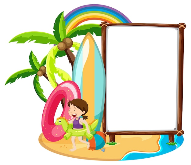 Empty banner template in beach scene isolated