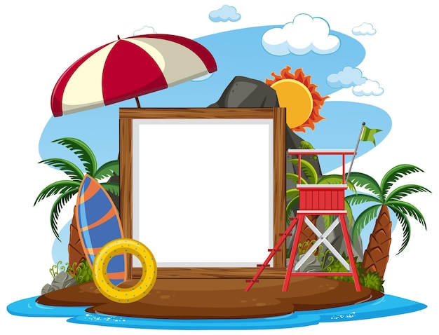 Empty banner template with beach scene on white background