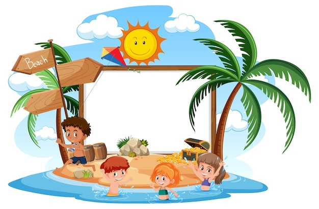 Empty banner template with kids character on summer vacation at the beach on white background