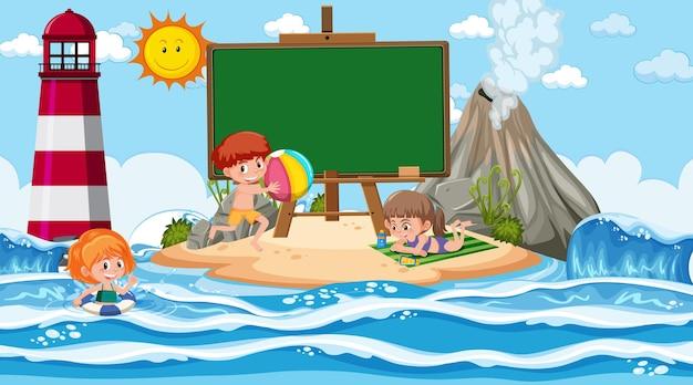 Пустой шаблон баннера с детьми на отдыхе на пляже днем