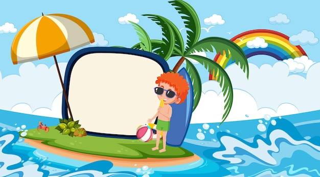 해변 낮 장면에서 휴가에 아이들과 함께 빈 배너 템플릿