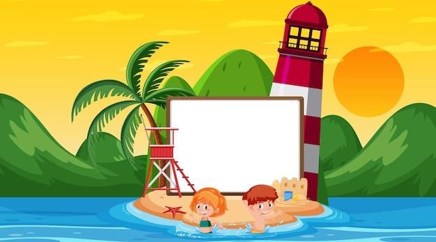 Пустой шаблон баннера с детьми на отдыхе на пляже на закате