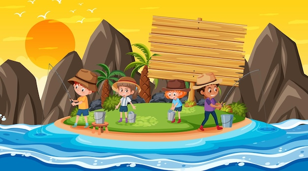 Empty banner template with kids on vacation at the beach sunset scene