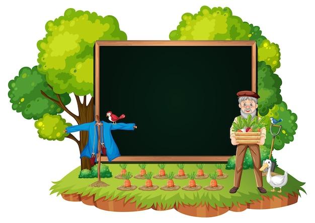 Modello vuoto dell'insegna con l'uomo anziano dell'agricoltore nella scena del giardino isolata