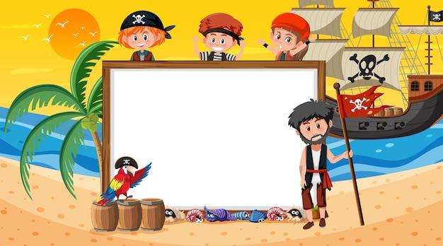 Пустой шаблон баннера с пиратскими детьми на пляже на закате